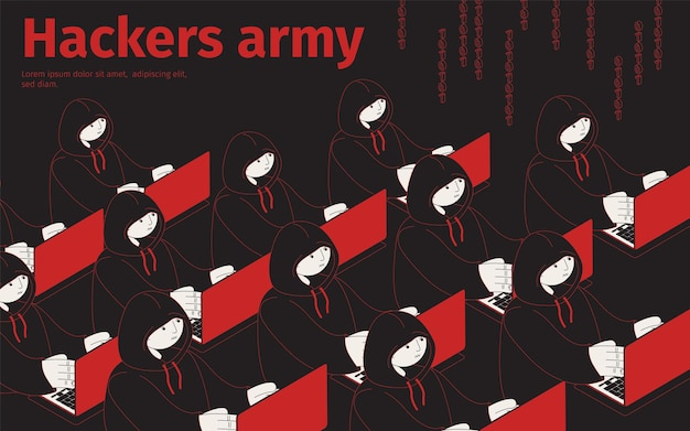 Ilustração isométrica do exército de hackers