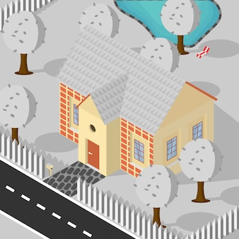 Ilustração isométrica do fundo da queda de neve do inverno da associação das árvores da casa do estilo