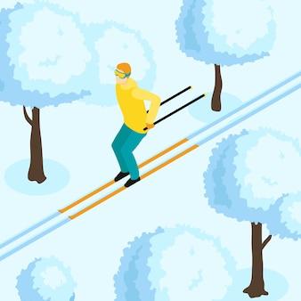 Ilustração isométrica do homem no esqui