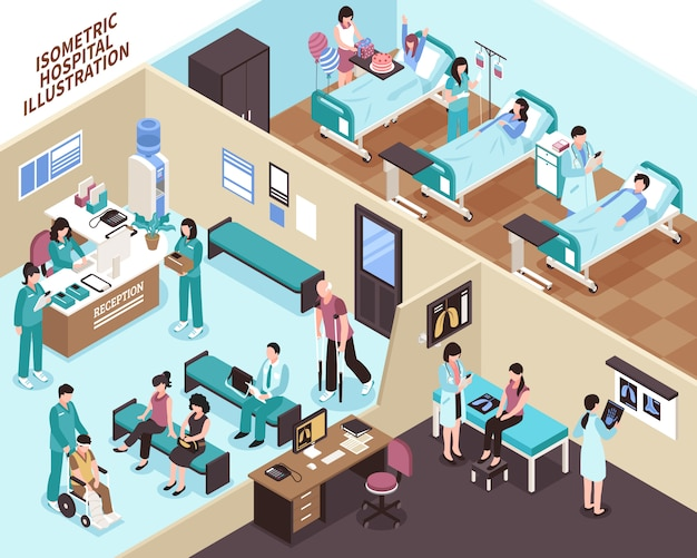 Ilustração isométrica do hospital