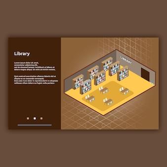 Ilustração isométrica do interior da biblioteca
