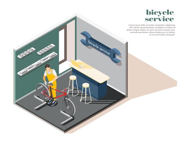 Ilustração isométrica do interior da loja de serviços de manutenção de reparos de bicicletas