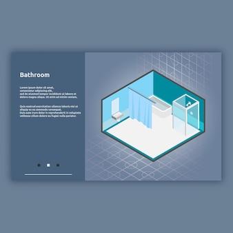 Ilustração isométrica do interior do banheiro