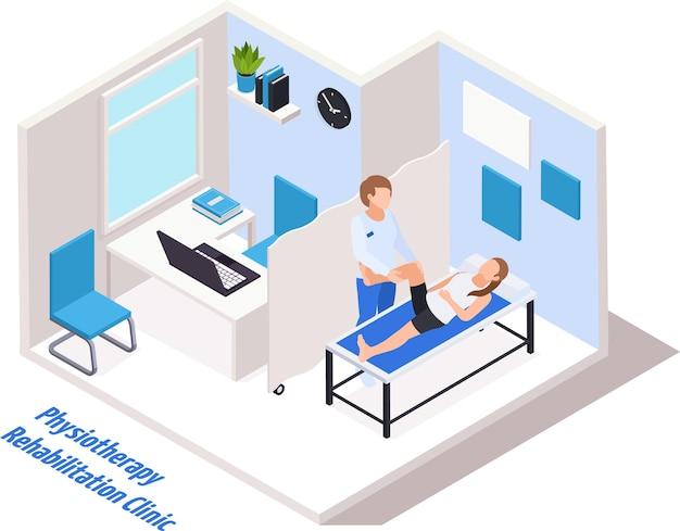 Ilustração isométrica do interior do consultório médico da clínica de reabilitação