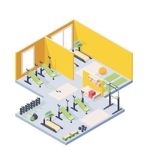Ilustração isométrica do interior do ginásio de fitness