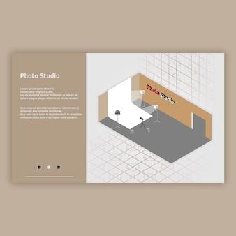 Ilustração isométrica do interior do photo studio