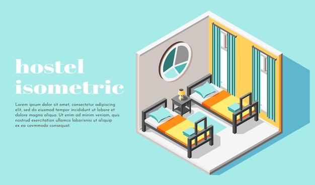 Ilustração isométrica do interior do quarto do albergue para duas pessoas com camas e mesa de cabeceira