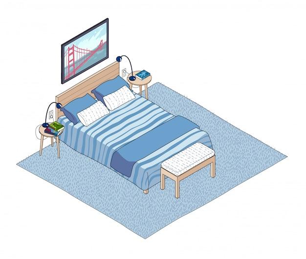 Ilustração isométrica do interior do quarto.