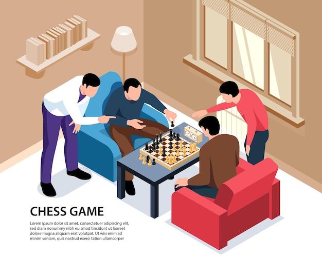 Ilustração isométrica do jogo de xadrez com texto editável e interior da casa com pessoas adultas jogando