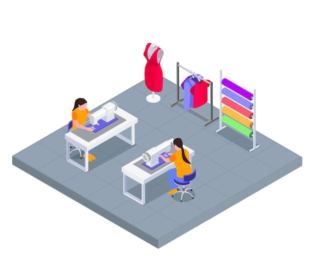 Ilustração isométrica do local de trabalho de fábrica têxtil