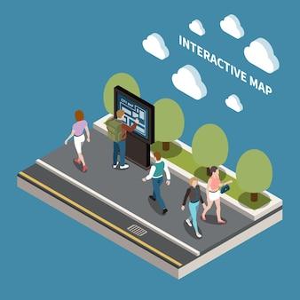 Ilustração isométrica do mapa interativo