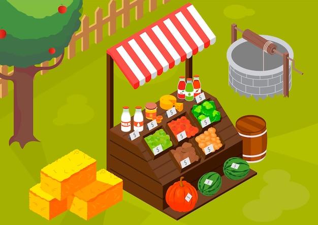 Ilustração isométrica do mercado de agricultores