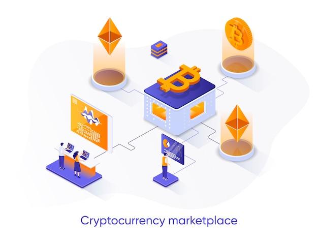 Ilustração isométrica do mercado de criptomoeda com personagens de pessoas