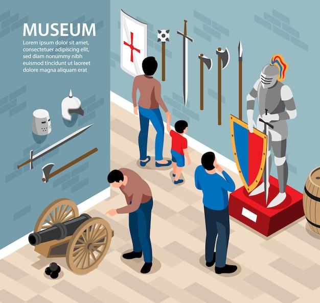 Ilustração isométrica do museu histórico com visitantes do cenário interno observando armas e trajes antigos com texto editável