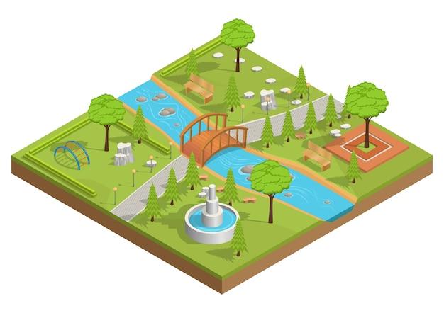 Ilustração isométrica do parque com rio e ponte de madeira.