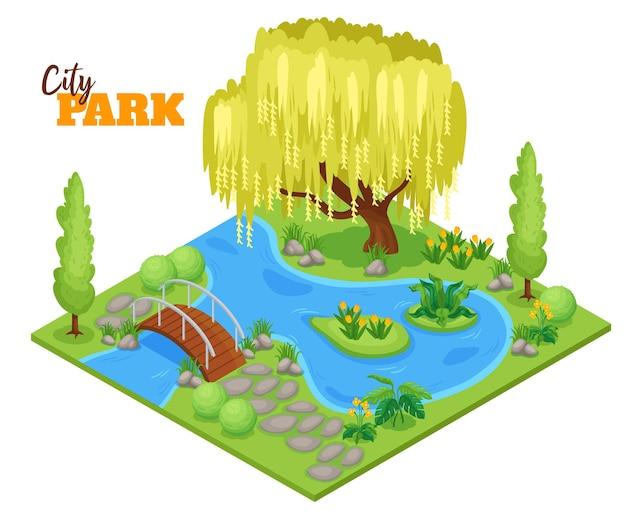 Ilustração isométrica do parque da cidade com lago, plantas e árvores