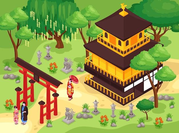 Ilustração isométrica do parque e do edifício do japão