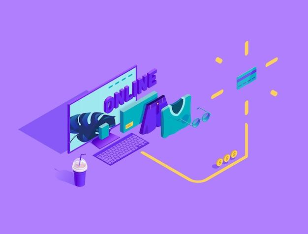 Ilustração isométrica do processo de compra online