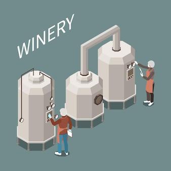 Ilustração isométrica do processo de produção de vinho na fábrica