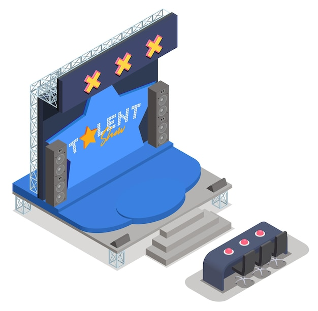 Ilustração isométrica do programa de talentos da tv