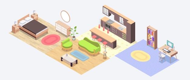 Ilustração isométrica do projeto do apartamento