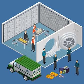 Ilustração isométrica do quarto de caixa de depósito