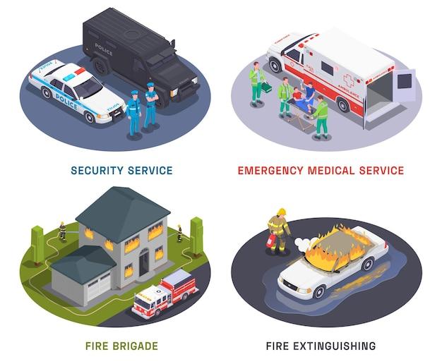 Ilustração isométrica do serviço de emergência quatro