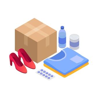 Ilustração isométrica do serviço de entrega com caixa de papelão e vários produtos 3d