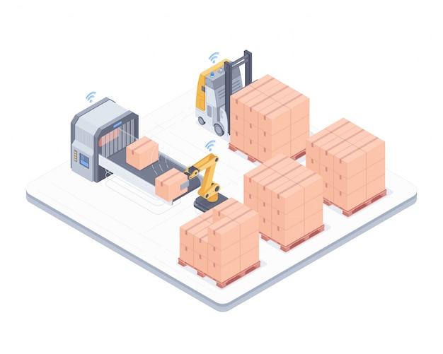 Ilustração isométrica do sistema de embalagem automatizada