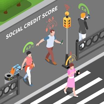 Ilustração isométrica do sistema de pontuação de crédito social