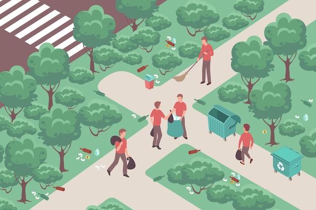 Ilustração isométrica do trabalho comunitário