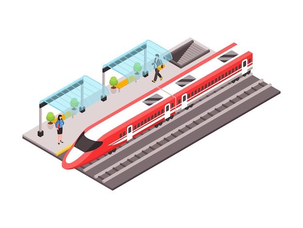 Ilustração isométrica do transporte público municipal com trem de alta velocidade e pessoas na plataforma 3d