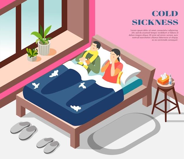 Ilustração isométrica do tratamento da gripe, enjoo resfriado, com um casal sofrendo de gripe com nariz escorrendo na cama