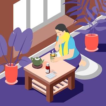 Ilustração isométrica do tratamento da gripe resfriada com dor de garganta. mulher bebe chá quente