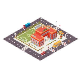 Ilustração isométrica do vetor da construção da escola