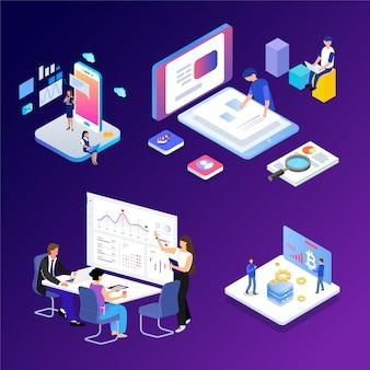 Ilustração isométrica do vetor da tecnologia futura moderna da cena do escritório para negócios.