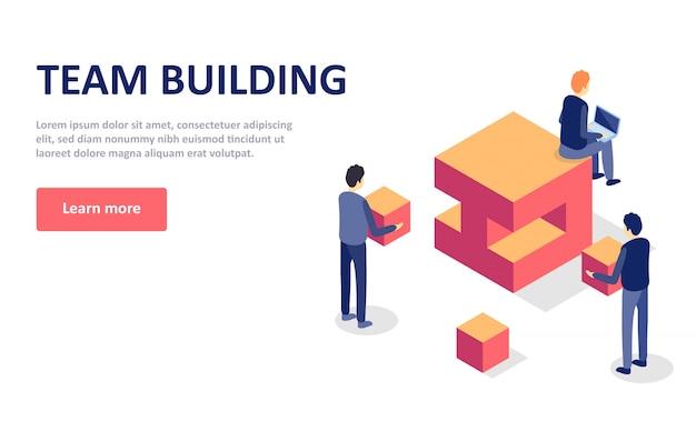 Ilustração isométrica do vetor do conceito da construção de equipe. modelo de página de destino. perfeito para web design com personagens plano isométrico