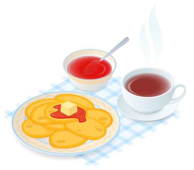 Ilustração isométrica do vetor plana da placa com panquecas, geléia, xícara de chá.