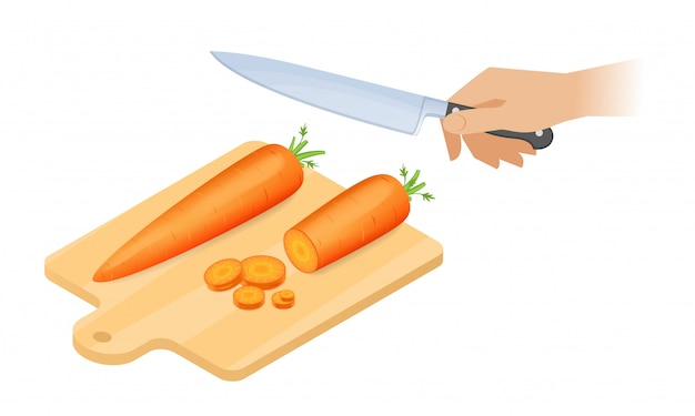 Ilustração isométrica do vetor plana de placa de corte, cenoura doce, mão com faca de cozinha.