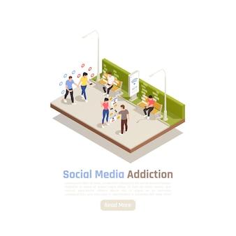 Ilustração isométrica do vício em redes sociais