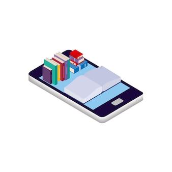 Ilustração isométrica dos desenhos animados de vetor isolada em um fundo branco. smartphone, livros e leitura. o conceito de leitura online, e-books e bibliotecas online. design de logotipo, leitor de site