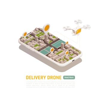Ilustração isométrica dos drones quadrocopters com edifícios da cidade dentro da moldura do smartphone com quadrocóptero voador