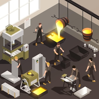 Ilustração isométrica dos trabalhadores da instalação de fabricação de metal com vazamento de ferro fundido, fundição do forjamento, ilustração do processo do laminador