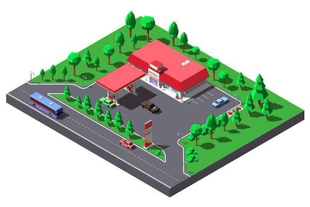 Ilustração isométrica. estação de gás e minimercado perto da estrada da rodovia.