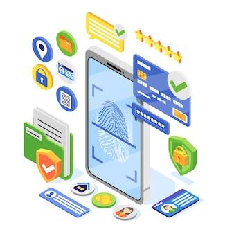 Ilustração isométrica gdpr de proteção de dados pessoais