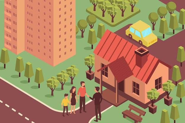 Ilustração isométrica imobiliária