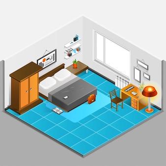 Ilustração isométrica interior em casa