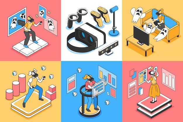 Ilustração isométrica isolada de realidade virtual