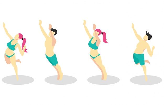 Ilustração isométrica jogando vôlei de praia