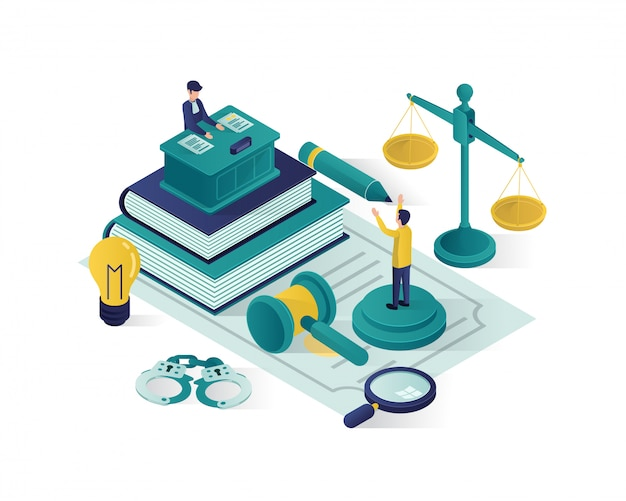 Ilustração isométrica justiça e lei, ilustração isométrica de escritório de advocacia.